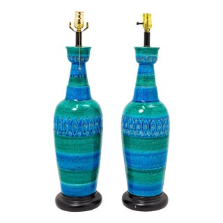 Aldo Londi for Bitossi Raymor Italian Blue Ceramic Lamps - a Pair