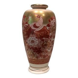 Floral Red & White Japanese Vase