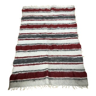 Moroccan Wool Grey, Red & Cream Stripe Rug