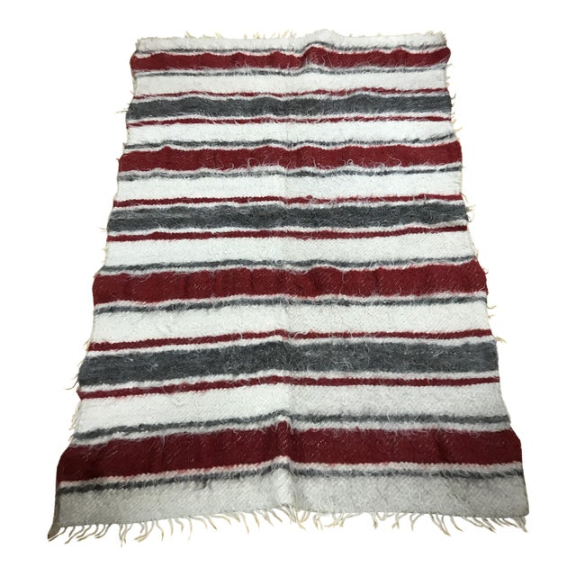 Moroccan wool grey red cream stripe rug chairish for Cream and red rugs