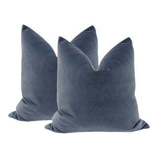 "20"" Prussian Blue Velvet Pillows - A Pair"