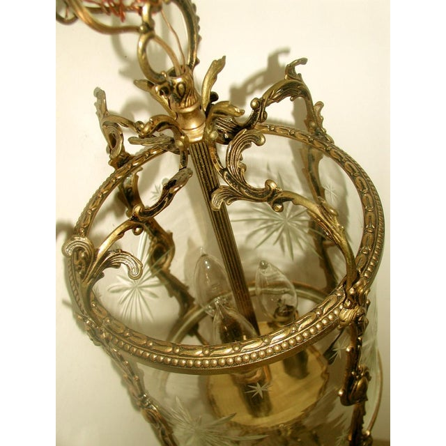 Etched & Rewired German Crystal/Bronze Fixture - Image 6 of 10