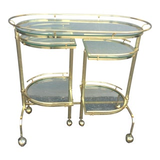 3 Tier Brass Folding Bar Cart