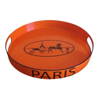 Orange Lacquered Hermes Inspired Bar Tray