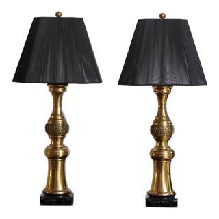 Pair of Elegant Paul Hanson Brass Table Lamps