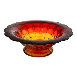 Amberina Petal Rim Centerpiece Bowl