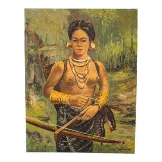 Vintage Portrait of Asian Girl Acrylic on Canvas Painting