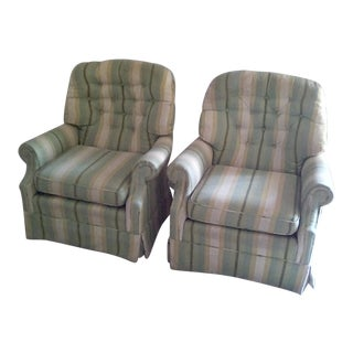Beach Chic Vintage Swivel Rocking Club Chairs Tufted - a Pair