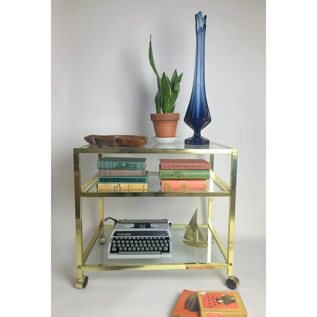 Image of Vintage Brass & Glass End Cart Table