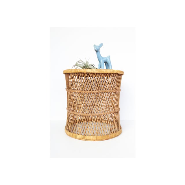 Image of Vintage Rattan Stool Plant Stand