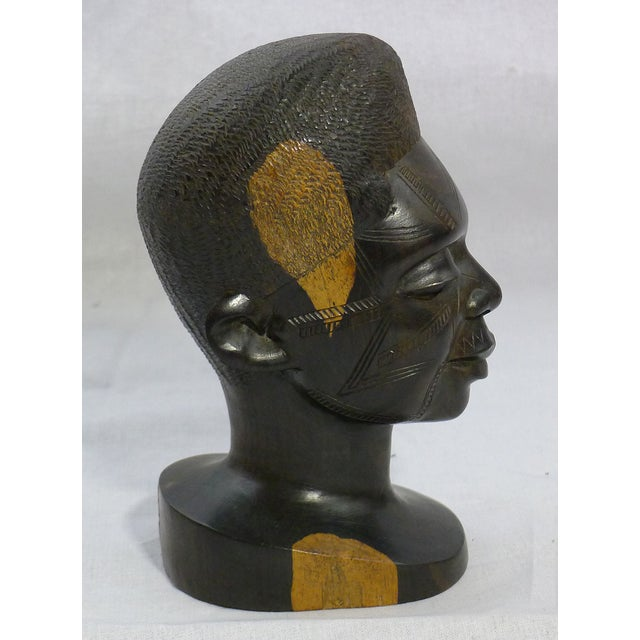 Image of Vintage Hand-Carved African Ebony Head