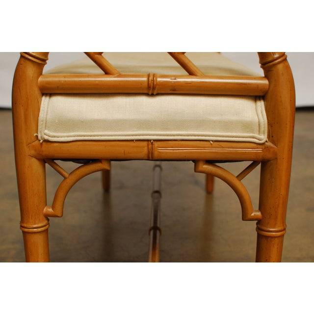 Hollywood Regency Faux Bamboo Chippendale Bench - Image 6 of 6