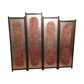 Mid-Century 4-Panel Two-Sided Wood Folding Screen