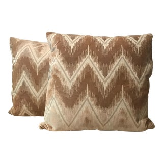 Velvet Chevron Beige Pillows - A Pair