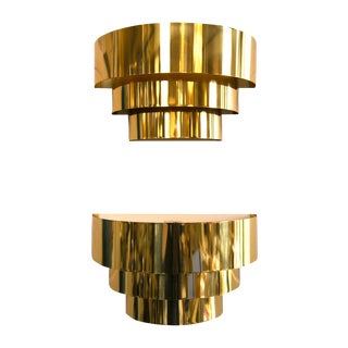 Tiered Brass Sconces - A Pair