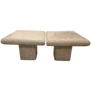 Tessellated Fossil Stone Tables - Pair