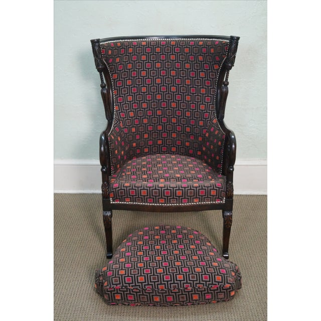 Carved Fire Side Barrel Back Wing Chairs - Pair - Image 8 of 10