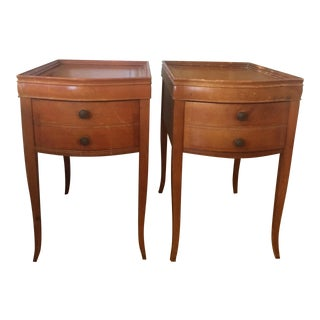 Leather Top Federal Style Matching Side Tables - A Pair