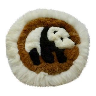 Mid-Century Panda Sheepskin Rug - 1′6″ × 1′6″