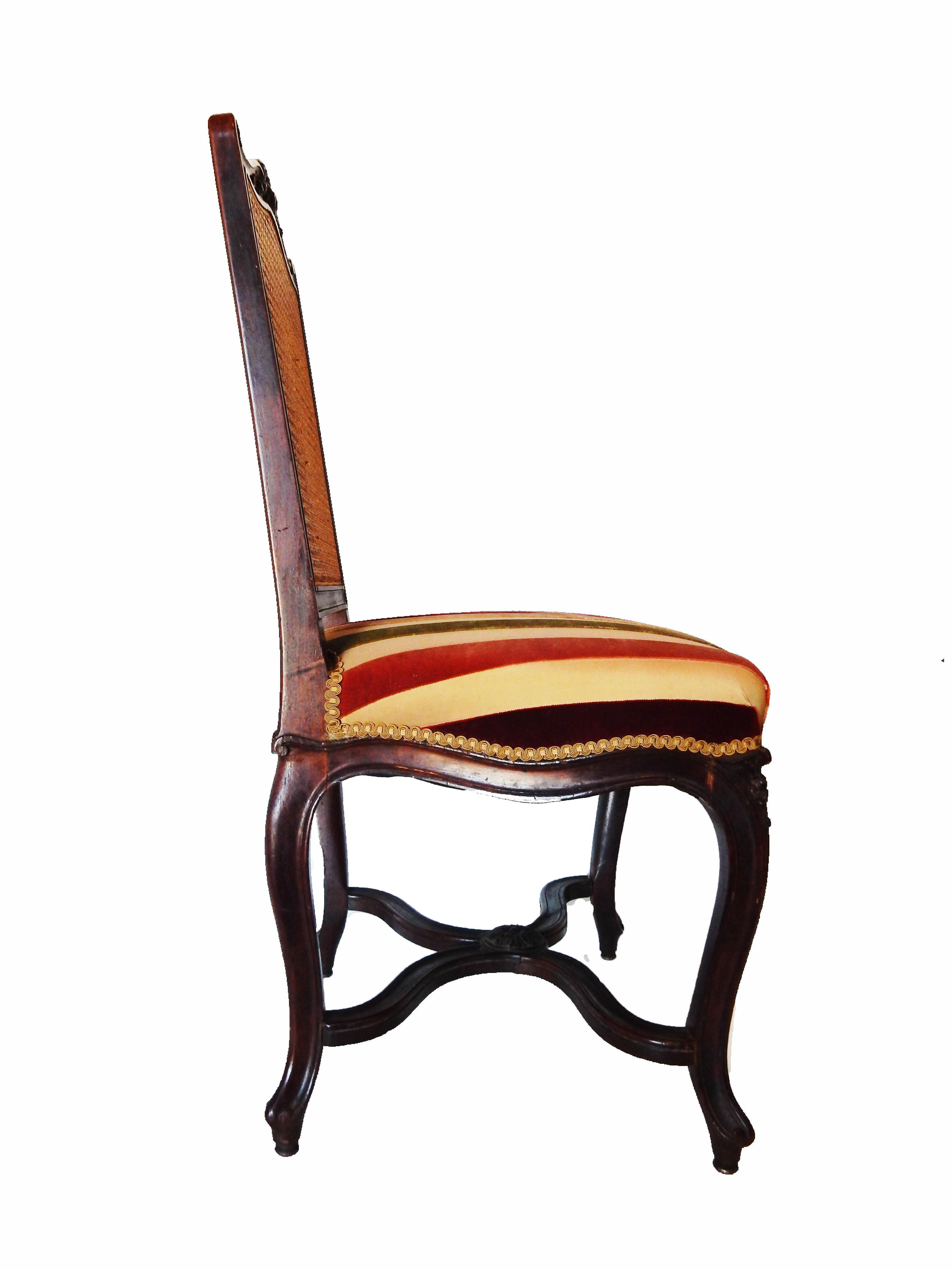 French Cane Amp Velvet Side Chair Chairish