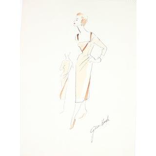 1950s Evening Dress Illustration by G. Bayh