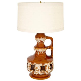 Large Mid-Century Salt and Drip Glazed Ceramic Lamp