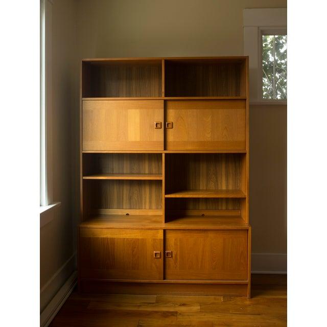 vintage danish modern mid century teak wall unit chairish. Black Bedroom Furniture Sets. Home Design Ideas