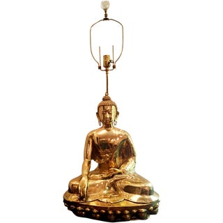 Large Brass Buddha Table Lamp