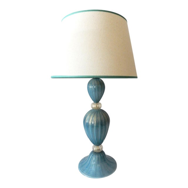 Turquoise Murano Glass Table Lamp - Image 1 of 7