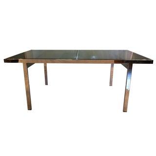 Milo Baughman Chrome & Smoked Glass Dining Table