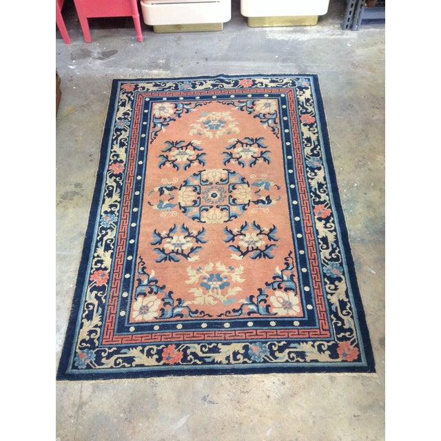 """Art Deco Navy & Coral Chinese Rug - 4'3"""" X 6'3"""" - Image 2 of 6"""