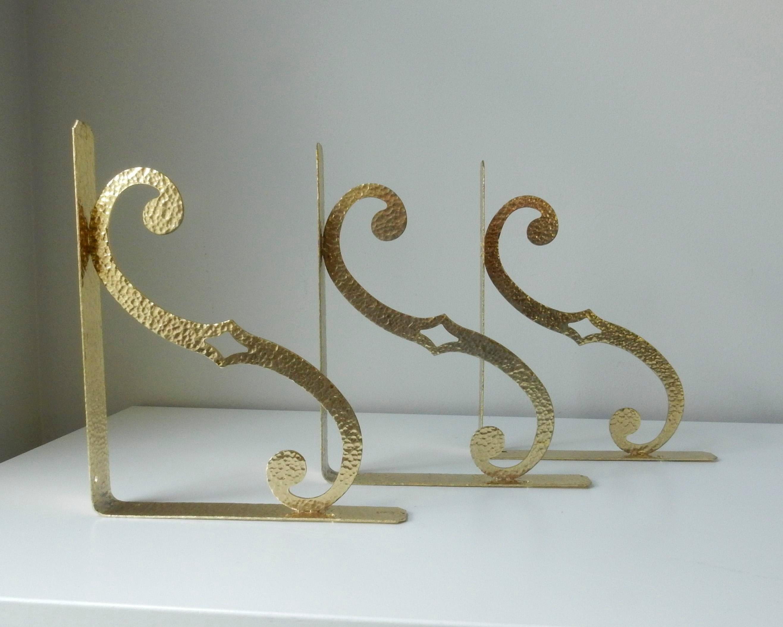 hammered brass shelf brackets set of 3 image 3 of 7