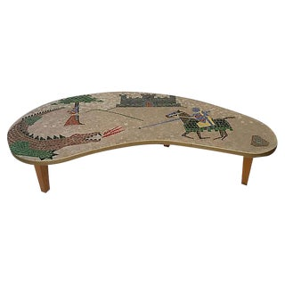 "Vintage Mosaic ""St George and the Dragon"" Boomerang Table"