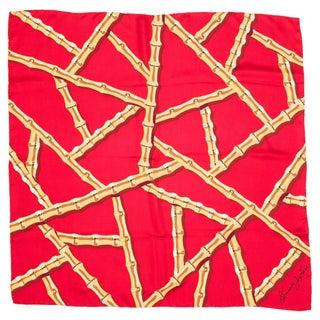 Kenneth Jay Lane Red Bamboo Silk Scarf