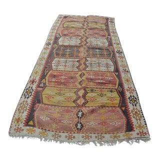 Oversize Handmade Floor Turkish Kilim Rug - 4′7″ × 10′9″
