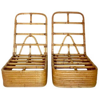 Paul Frankl Designed Rattan & Reed Stack Slipper Chairs - A Pair