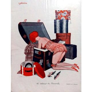 """L. Bonnotte 1926 Le Sourire """" Le Retour de Biarritz """" Print"""