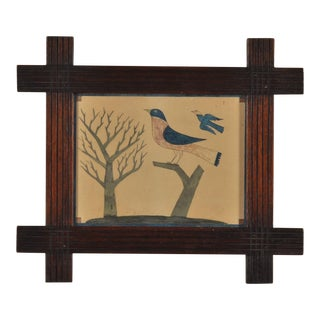 Painting of a Blue & Red Bird Perched on a Stump