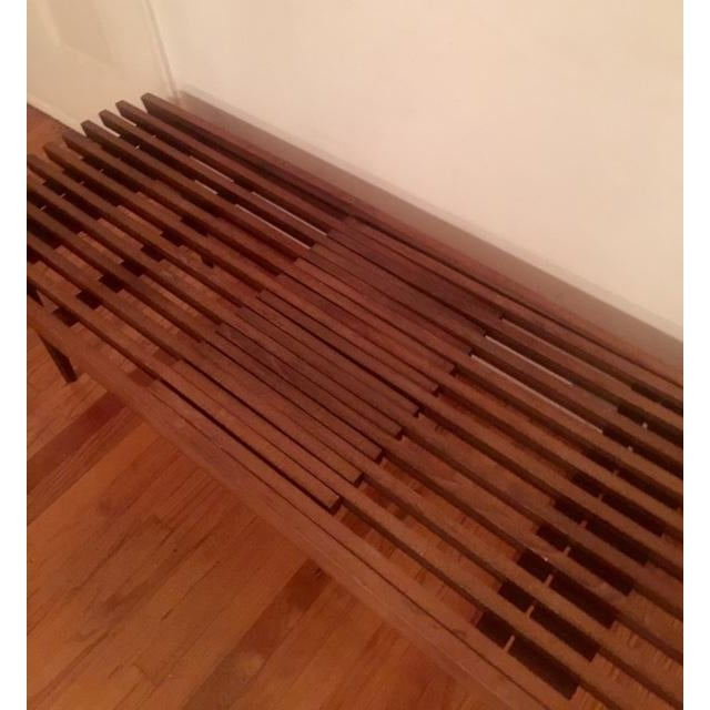 Mid Century Modern Slatted Coffee Table Bench - Image 3 of 4