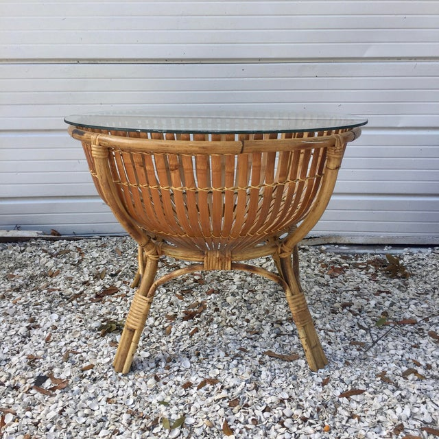 Vintage Rattan Fish Basket Coffee / Side Table - Image 2 of 6