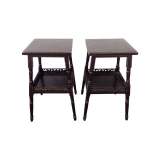 Arhaus Black Tea Stand Side Tables - A Pair