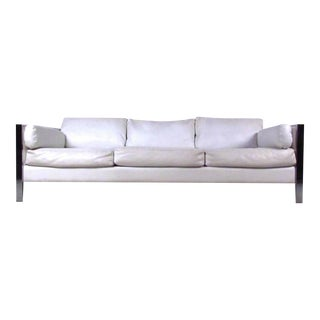 Stylish Chrome and Vinyl Sofa in the Style of Milo Baughman
