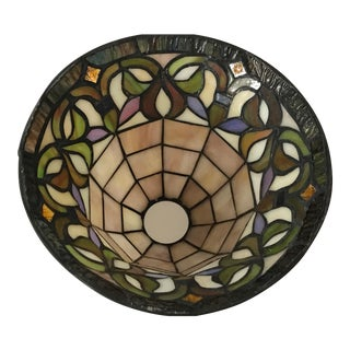 Vintage Tiffany Style Stained Leaded Glass Lamp Shade