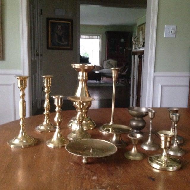 Vintage Brass Candleholders - Set of 14 - Image 3 of 10