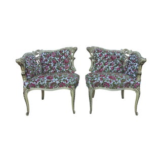 1960's Cut Velvet Bergere Chairs - Pair