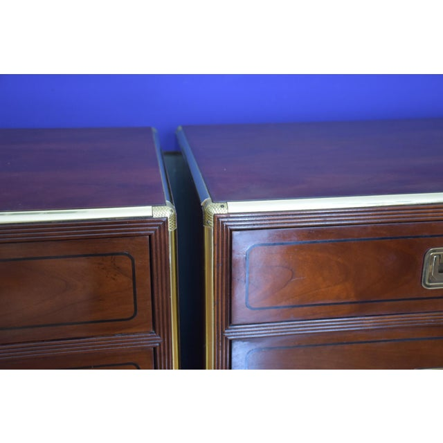 Baker Mid Century Hollywood Regency Walnut & Brass Campaign Bachelors Chests - a Pair - Image 5 of 8