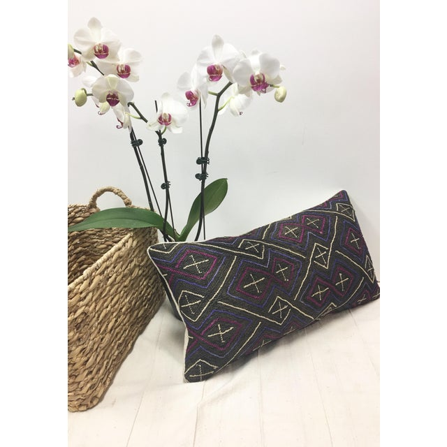African Kuba Cloth Lumbar Pillow - Image 7 of 8