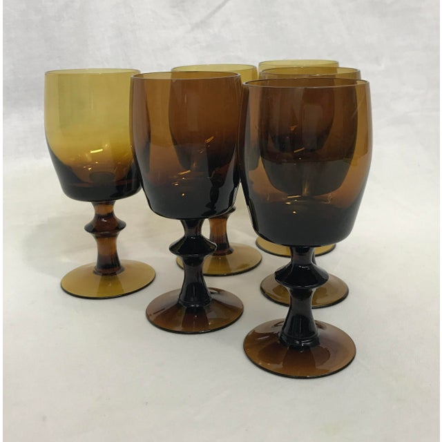 1960s Amber Stem Glasses - Set of 6 - Image 5 of 8