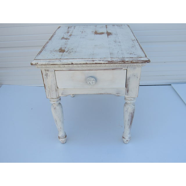 shabby chic side table nightstand chairish. Black Bedroom Furniture Sets. Home Design Ideas