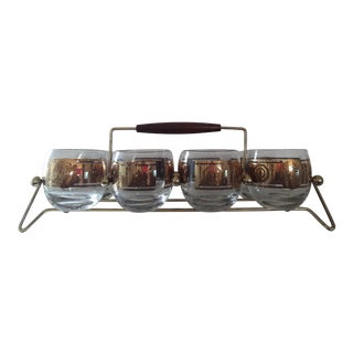 Mid-Century Gold Band Roly Poly Glasses with Caddy